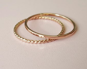 Rose Gold Ring and Gold Twist Ring mixed metal 2 thin stackable hammered rings