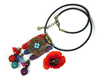 Boho necklace, hippie necklace, textile necklace, ethnic necklace, wool