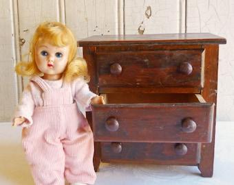Vintage Handmade Wood Doll Chest - Three Drawer Dresser - 1950s Doll Furniture - Unconventional Wood Jewelry Box or Vanity Trinket Box