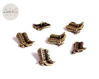 10 buttons cowboy boot boot cowboy 16x13mm brass sewing notions trip usa