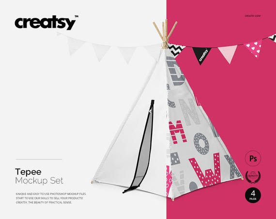 Teepee Mockup Set Kids Teepee tent Template Childrens