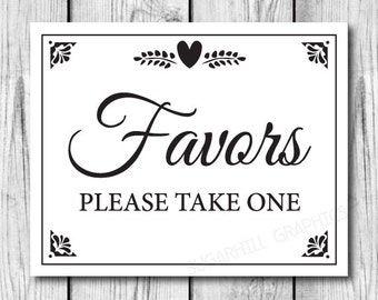 Printable Wedding Sign, Wedding Sign, Favors Sign, Wedding Decor, Wedding Signage, Instant Download
