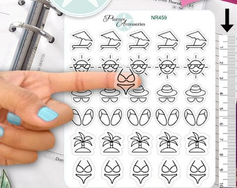 Clear Travel Stickers Holiday Stickers Summer Stickers Planner Stickers Erin Condren Functional Stickers Decorative Stickers NR459