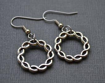 Antique Silver Twisted Hoops . Earrings