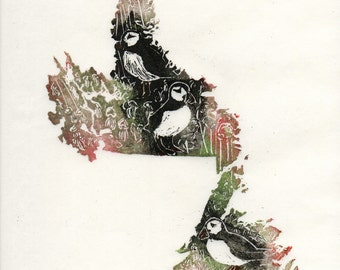 Newfoundland and Labrador, Puffins and Purple Pitcher Plants linocut, Maps of Canadian Provinces and Territories with Symbols, Newfoundland