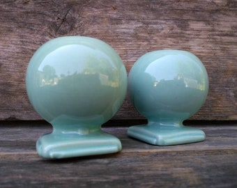 Candle Holders, Haeger Pottery, Retro Decor, Blue, Orb, Vintage Pottery, Light Blue, Mid Century, Home Decor, Collectible Pottery