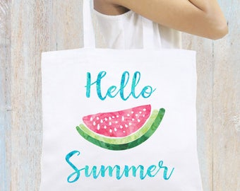 Personalized Tote Bag Beach Bag Hello Summer Watermelon Monogrammed Tote Bag Personalized Gift Bridesmaid Tote Bag Personalized Gift