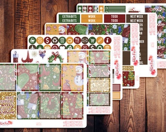 CLEARANCE! Merry Little Christmas Planner Sticker Kit, for use in Erin Condren Life Planners, Happy Planner Sticker Kits, Winter W006