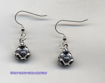 Sitting Buddha Sterling Silver Earrings