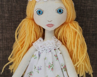DIY cloth doll kit, blonde, easy to make