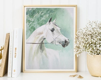 Watercolor White Horse print horse art horse printable horse decor wall art horse painting watercolor print poster home decor