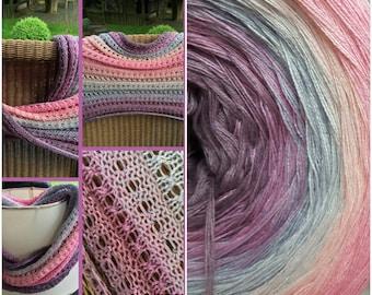 Designer yarn gradient Lotus Blossom! 260 GR! Knitting Crochet handmade