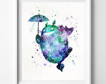 Totoro Print, Totoro Watercolor, Ghibli Art, Totoro Poster, Kids Room Decor, Wall Art, Wall Decor, Baby Wall Decor, Type 2, Halloween Decor