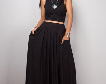 Handmade Long Black Skirt, Black Maxi Skirt, Long Pleated Skirt with pockets, High waist women's skirt, modest full skirt
