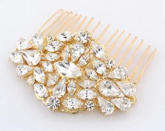 Gold wedding comb - statement bridal comb - gold bridal comb - crystal and pearl - statement headpiece - crystal hair comb - Stella comb