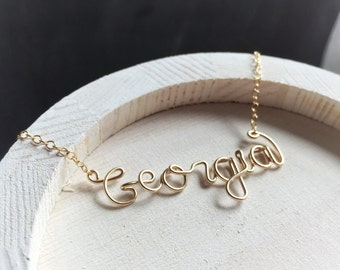 Gift for Her- Name Necklace - Personalized Name Necklace - Custom Name or Word Necklace- Silver or Gold Necklace - Personalized Gift