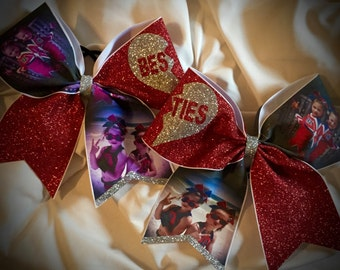 PHOTO Cheer Bow with Text and Pictures, Besties, Best FRIENDS Glitter Bow Many Colors