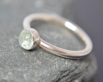 Aquamarine Sterling Silver Ring, Aquamarine Cabochon, Gemstone Ring, Bezel Set Cabochon, Sterling Silver Band