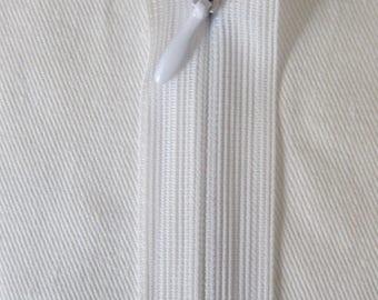 White 60 cm Invisible zipper
