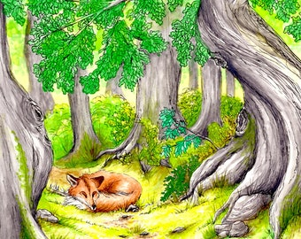 Fox Art, Fox in the Woods Art Print, 5x7 Fox Art Print, Fox Illustration Print, Fox Art, Fox Illustration