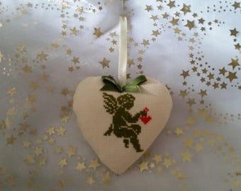 "Padded hand embroidered heart ""Khaki green Angel"" handmade"