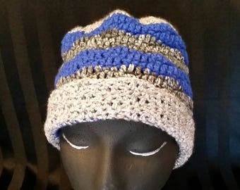 Royal Blue, Grey Heather, and Black Tones stripped Beanie