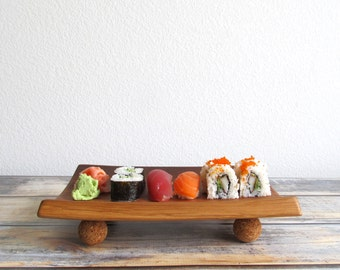 Wooden Sushi Plate - Sushi Board Gift for Sushi Lovers - Wood Sushi Tray - Sushi Dinnerware - Sushi Gifts - Five Year Anniversary Gift -A107