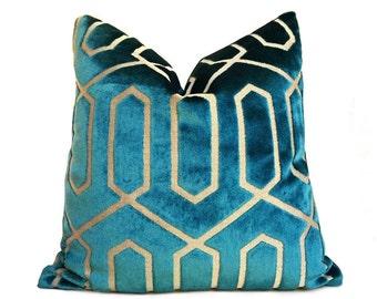 "Robert Allen Bengal Geometric Lattice Peacock Teal Green Cut Velvet Pillow Cover, Fits 12x18 12x24 14x20 16x26 16"" 18"" 20"" 22"" 24"" Inserts"