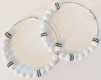 Bling / sparkly white hoop earrings - crystal hoop earrings - handmade jewellery - wedding/party/birthday gifts