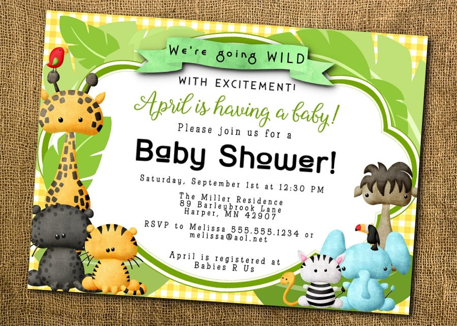 Printed Party Invitations Invite w/ Envelope Baby Jungle