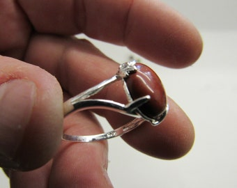 Hand Made Silver and Red Jasper Ring Size 9.5