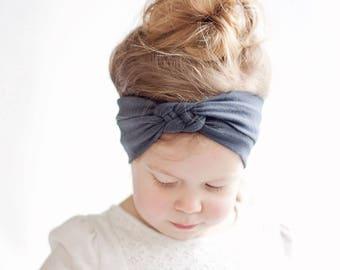 Headband, Celtic Knot Headband, Headbands, Baby Headbands, Turban Headband, Top Knot, Head Wrap, Infant Headband, Baby Gift - Charcoal Grey