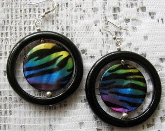 ZEBRA print EARRINGS - black Onyx and rainbow Shell earrings with Sterling Silver hooks for pierced ears blue yellow green