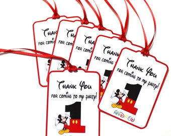 Mickey Mouse Thank You Party Favor Tags,  Mickey Mouse Personalized NAME & AGE Happy Birthday Party Favors Thank You tags, Party Supplies