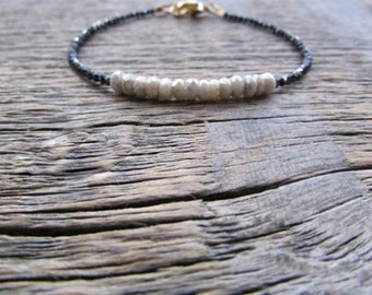 Silverite Bracelet, Mystic Spinel Bracelet, Black White Bracelet, Gemstone Bracelet, Bead Bracelet, Silverite Jewelry, Stack Bracelet