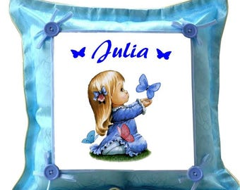 Blue cushion girl Butterfly personalized with name