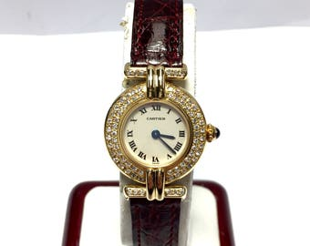 CARTIER COLISÉE 18K Solid Yellow Gold Luxury Ladies Watch with Diamonds and Original Cartier Band