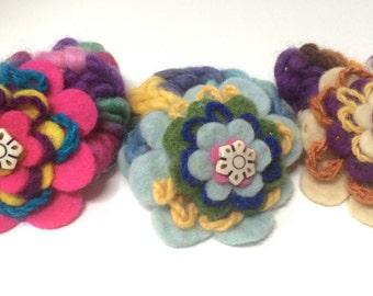 Felt Flower layers and soft wool Scrunchies