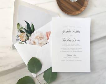 Simple Script Wedding Invitation Sample / Letterpress or Digital Printing / Minimalist, Chic, Floral Invitation Suite / #1147
