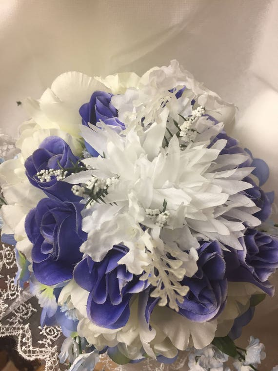 Brides bouquet blue and white silk flowers artificial free brides bouquet blue and white silk flowers artificial free shipping in usa only 018 mightylinksfo