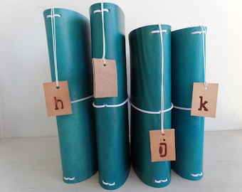 Bottom of the Barrel!!! Turquoise Leather Journal Cover - Medium to Firm