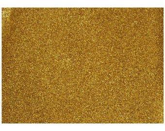 Gold fine glitter fabric 21 x 21 cm sheer