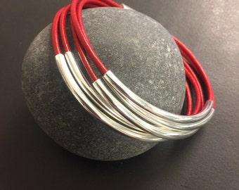 Leather Wrap Bracelet - Red Leather Wrap Bracelet