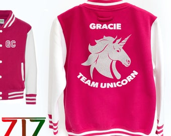 Personalised Kids Unicorn Varsity Jacket, Unicorn Sweatshirt, Unicorn jumper, Girls Unicorn Clothing, Unicorn Gift, Unicorn Birthday Gift
