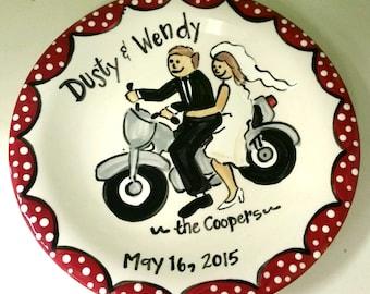 Wedding Plate Motorcycle Bride and Groom