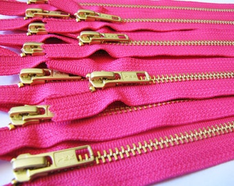 Metal Zippers Wholesale - TEN hot pink 7 inch brass zippers with gold tone teeth - YKK color 516