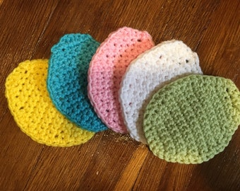 5 crochet egg coasters