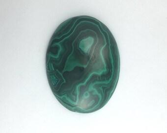 Malachite Green Banded Plume Malachite Semi-precious Gemstone Cabochon, Natural African Gem Stone, DIY Craft Jewel of Zaire