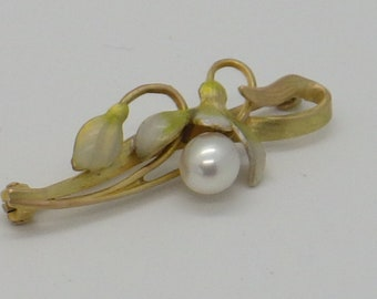 14K Krementz Nouveau Lily and Seed Pearl Flower Brooch