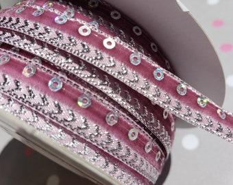 """ROSE PINK Velvet Shimmer Sequin Trim - 3/8"""" Wide - 3 Yards"""